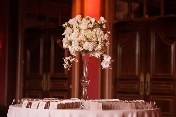 wedding reception round table escort cardss ivory rose hydrangea and orchid flowers