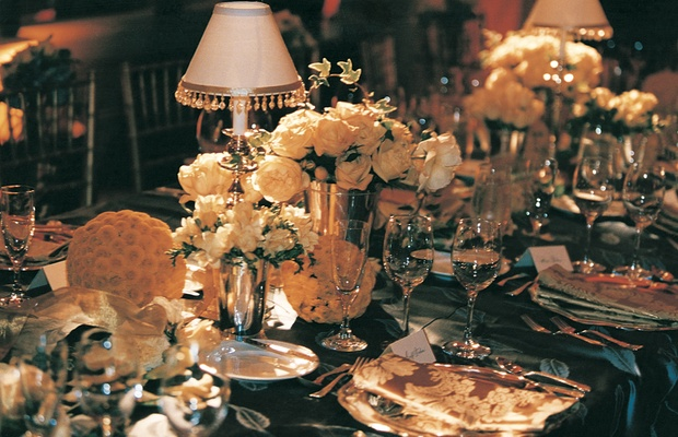 white flowers and lampshades decorate table