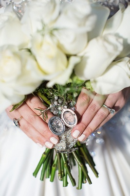 White rose wedding bridal bouquet with locket photo of late mother manicure cream