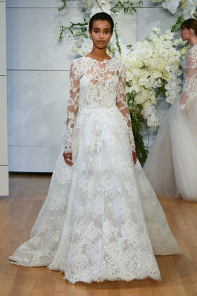 Monique Lhuillier Spring 2018 bridal collection Sistine wedding dress long sleeve lace ball gown