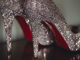 Crystal-studded Christian Louboutin heels