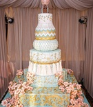 Wedding cake with blue and white tiers with different