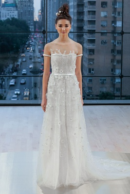 """Park"" Ines Di Santo fall 2018 short sleeve wedding dress a line banding at sleeve and waist flowers"