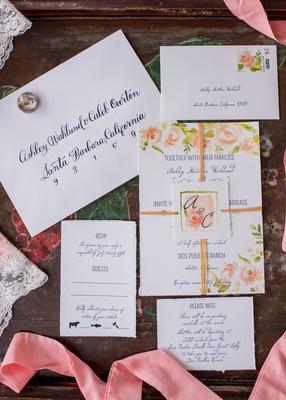 wedding invitation suite navy blue calligraphy script flower print design and matching monogram