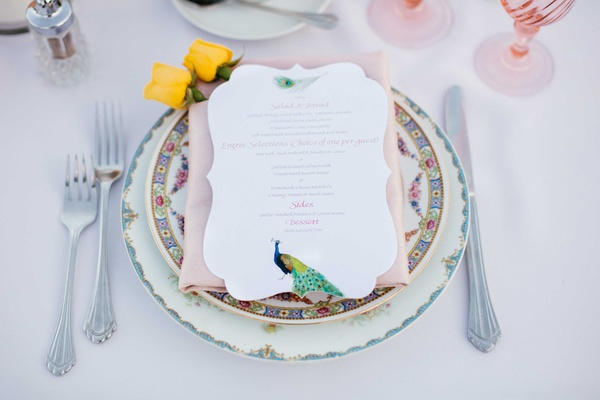 peacock themed white menu