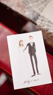Bride and groom cartoon illustration drawing ceremony program wedding date