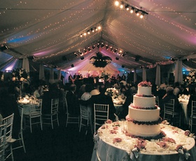Twinkling lights and four layer cake