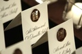 White place cards with brown wax custom seal