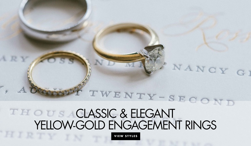 engagement rings set in yellow gold diamond ring inspiration classic solitaire boho-chic rings