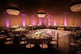 Fairmont Miramar Hotel & Bungalows wedding reception pink purple lighting uplighting chandeliers