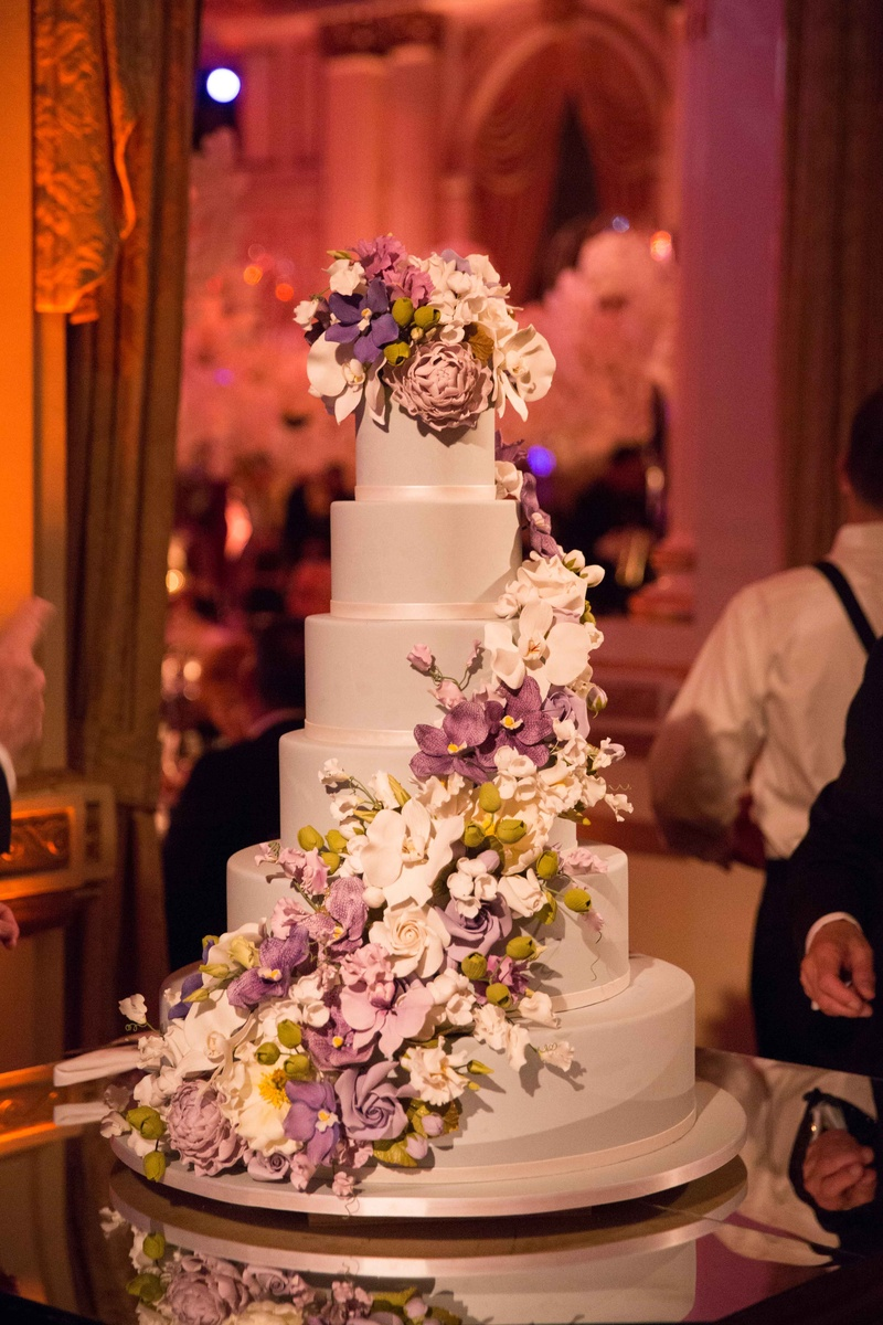 wedding cake with flowers on the side cakes amp desserts photos six layer cake with purple sugar 26884