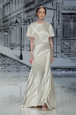 Justin Alexander Spring Summer 2017 silk charmeuse ivory short sleeve wedding dress godet skirt