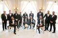 manny smith interscope wedding, groom, groomsmen, and fathers in black tuxes, groom in ralph lauren