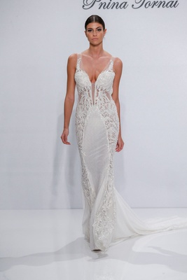 Pnina Tornai for Kleinfeld 2017 Dimensions Collection beaded wedding dress embroidery on sides