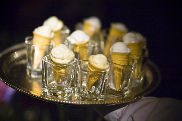 Pineapple mint sorbet in mini ice cream cone