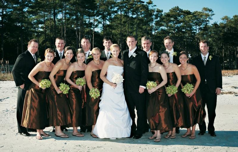 Bridesmaids in sandals and groomsmen