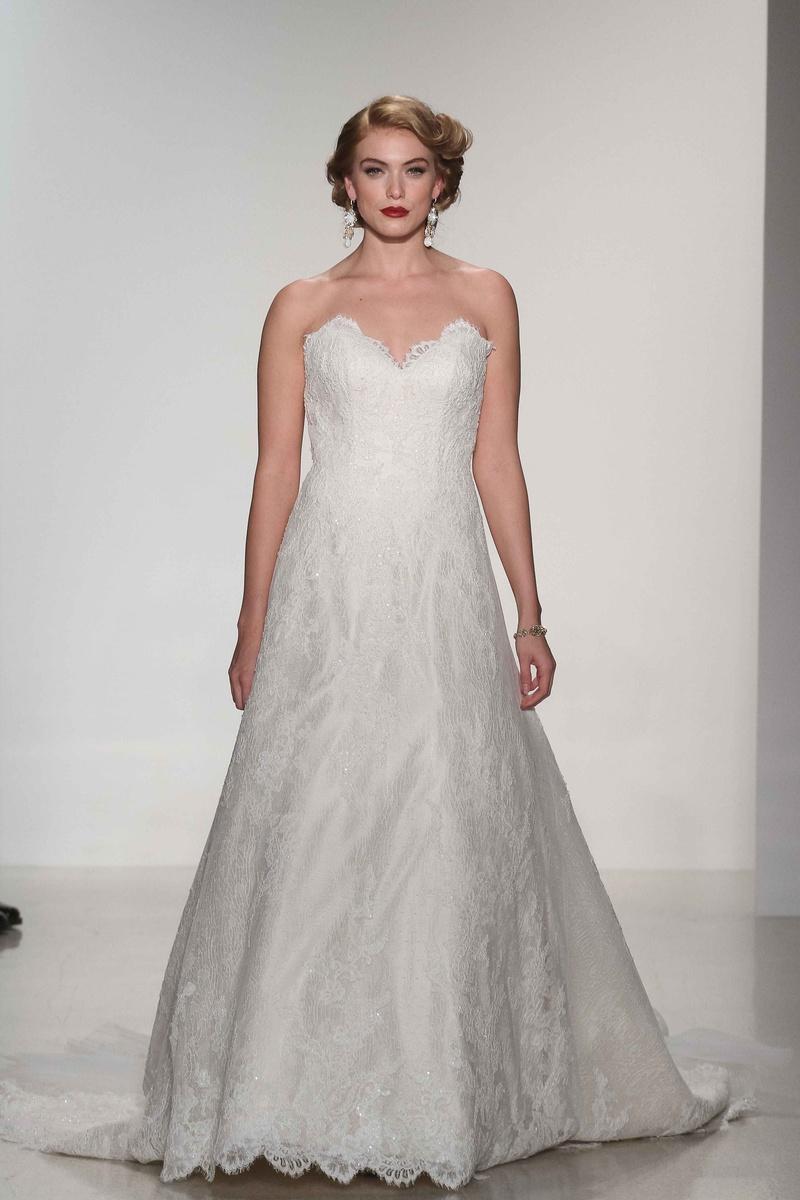 Matthew Christopher 2016 Strapless Lace Wedding Dress With Scallop Hem