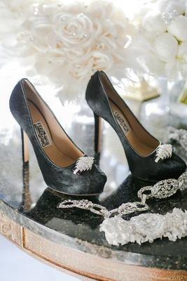 Salvatore Ferragamo black pumps with crystal detailing at toe