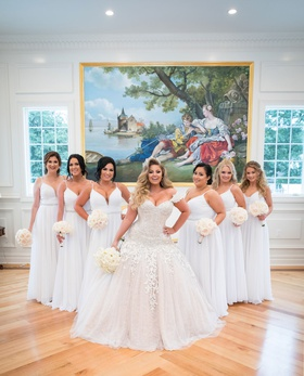 ashley alexiss wedding dress ball gown off shoulder drop waist bridesmaids in white dresses