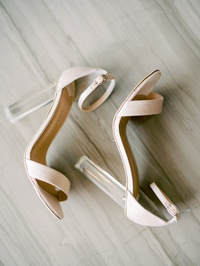 tony bianco modern wedding shoes lucite acrylic clear heel chunky with ankle and toe straps