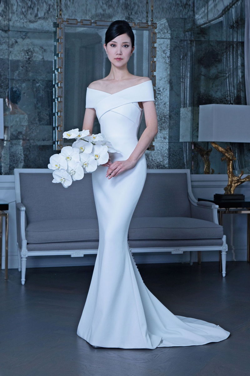 Romona Keveža fall 2019 bridal collection wedding dress RK9503 Off-the-shoulder bridal gown buttons