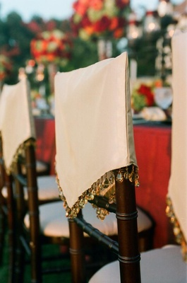 Moroccan-style chair covers with teardrop beads