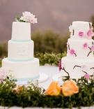 two wedding cakes, simple wedding cake, floral wedding cake,