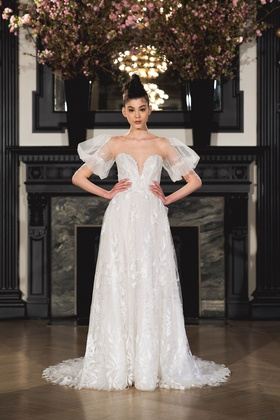 Ines Di Santo Spring 2019 collection sweetheart a-line gown with sleeves buttons and pockets