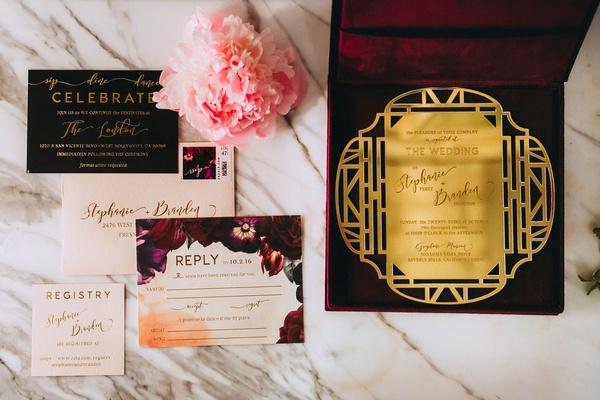Stephanie Perez and Brandon Hampton wedding invitation black burgundy maroon fall wedding ideas