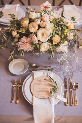 Rustic Wedding Reception Place Setting Lavender Linen Centerpiece Freshly Picked Wood Round Menu
