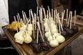 Cake pops with white chocolate and dark chocolate