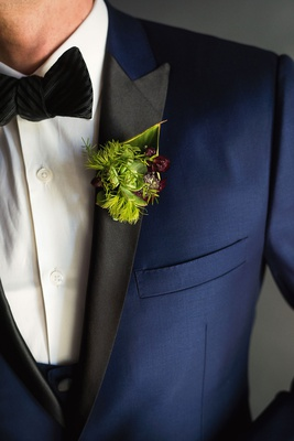 Wedding boutonniere groom artichoke succulent moss greenery