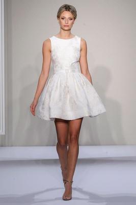 Dennis Basso 2016 short tank wedding dress in silk jacquard