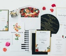 floral save-the-date and wedding invitations, black, gold, and white wedding invitations