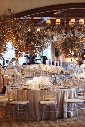 Golden trees and luxe florals for a corporate event at Big Canyon, Newport Beach.