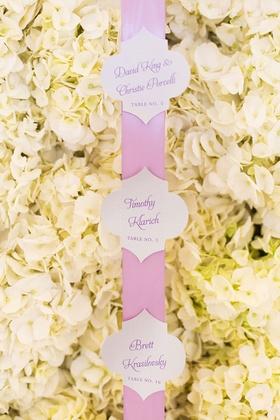 white hydrangea wall pink ribbon calligraphy escort cards