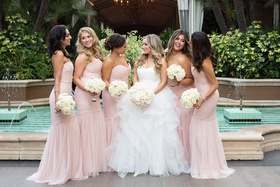 bride in reem acra ball gown, bridesmaids in blush amsale dresses