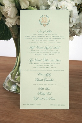 Celadon green menu stationery with motif