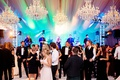 wedding reception entertainment crystal chandelier light show live band on stage wedding reception