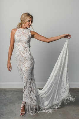 Edie by Grace Loves Lace Elixir, column lace wedding dress, tassels and fringe high neck sleeveless