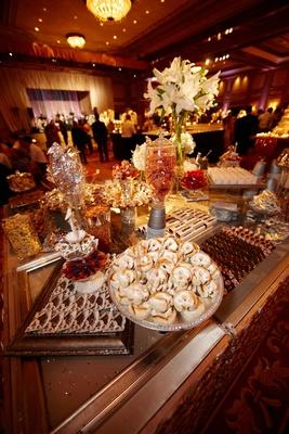 Ballroom wedding dessert and candy display