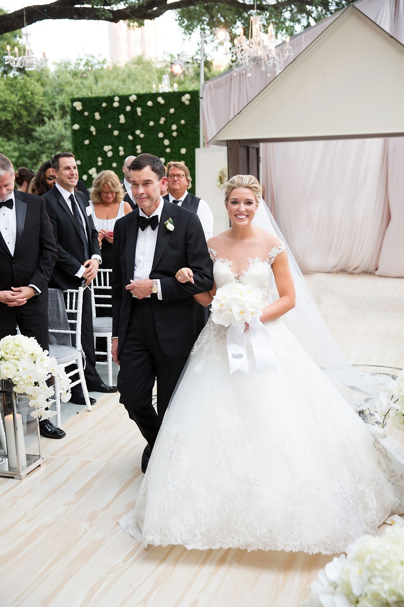 Wedding outdoor hedge wall pink drapery wood aisle bride in romona keveza ball gown dad in tuxedo
