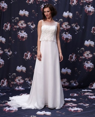 Trumpet wedding dress with beaded overlay  by Ivy and Aster Fall 2016