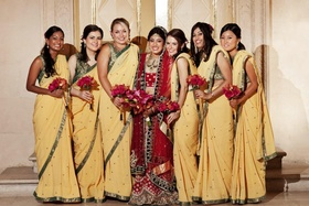 Indian bridal attire and women in traditional sari