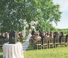 Alfresco ceremony under elm tree on grass