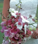 Pink, purple, and white orchid wedding bouquet