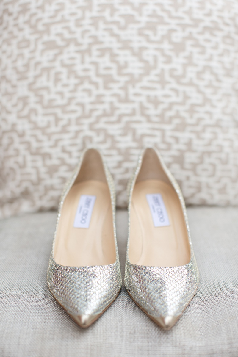 Jimmy Choo flats with sparkling snakeskin