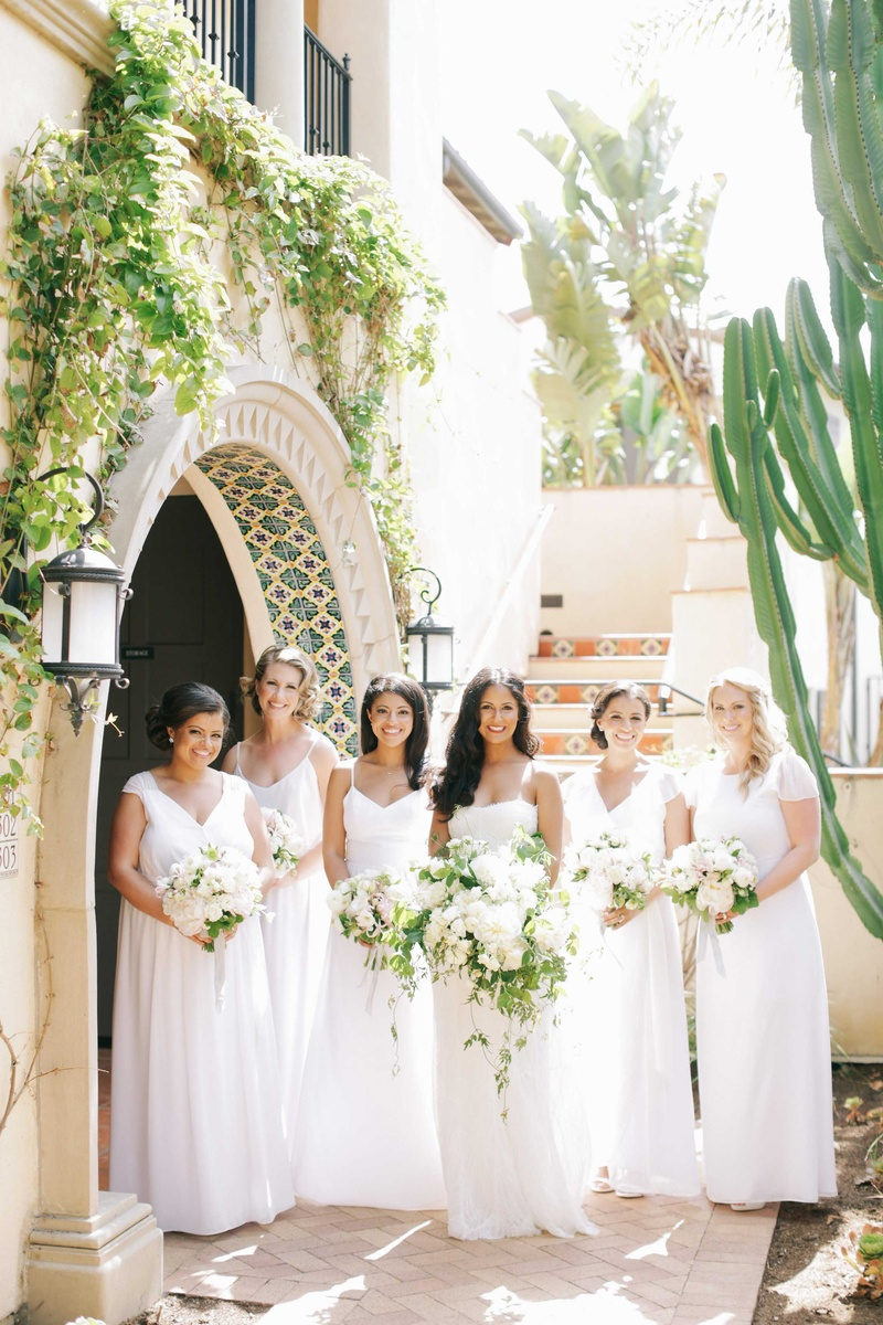 Brides bridesmaids photos all white joanna august for All for wedding decoration