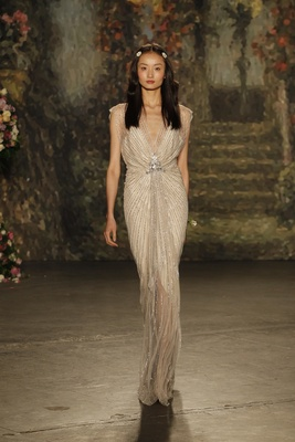 """champagne """"lilya"""" dress with sheer beaded overlay by jenny packham"""