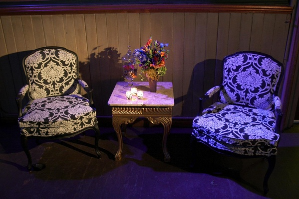 black and white armchairs with paisley pattern